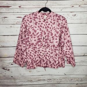 Garnet Hill Button Front Long Sleeve Shirt Sz Med